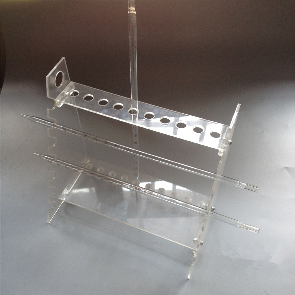 Organic glass double-faced trapezoidal pipette stand graduated pipette rack pipette holder double face trapezoidal pipet rack
