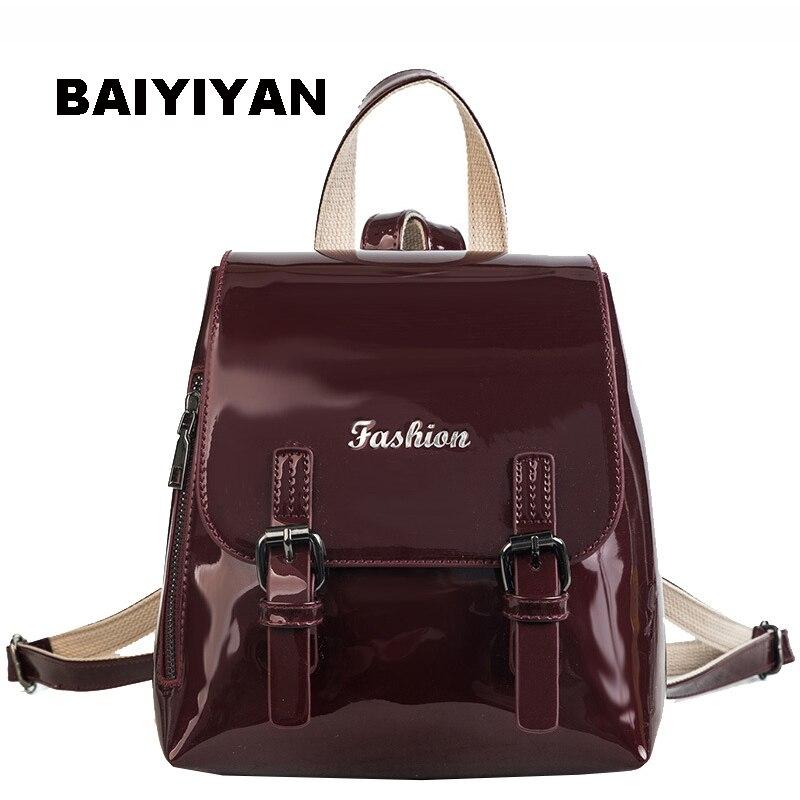 New Fashion Small Fresh Bag Patent Leather Brands Female Backpacks High  Quality Schoolbag Backpack Elegant Tote Bag Feminina-in Backpacks from  Luggage ... 50f60801e3b28