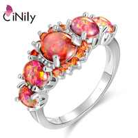 CiNily роскошное кольцо с оранжевым огненным опалом и камнем, посеребренное круглое кольцо с гранатом, богемное Бохо весеннее ювелирное издел...
