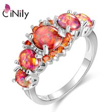 CiNily Lavish Orange Fire Opal Stone Rings Silver Plated Round Garnet Finger Ring Bohemia BOHO Spring Jewelry Gift Woman Female(China)