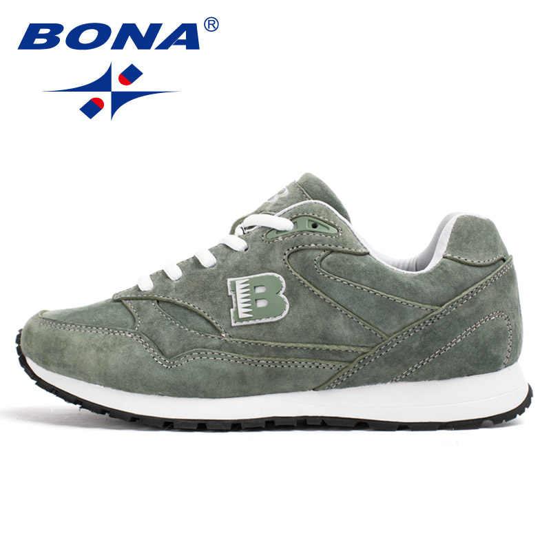 7ccaeb4132b7 ... BONA новый популярный стиль, женские кроссовки из яловичного спилка, дышащая  Спортивная обувь на ...