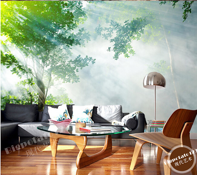 Custom 3D large mural,green forest landscape photography under the sun exposure,living room TV wall bedroom wallpaper custom green forest trees natural landscape mural for living room bedroom tv backdrop of modern 3d vinyl wallpaper murals