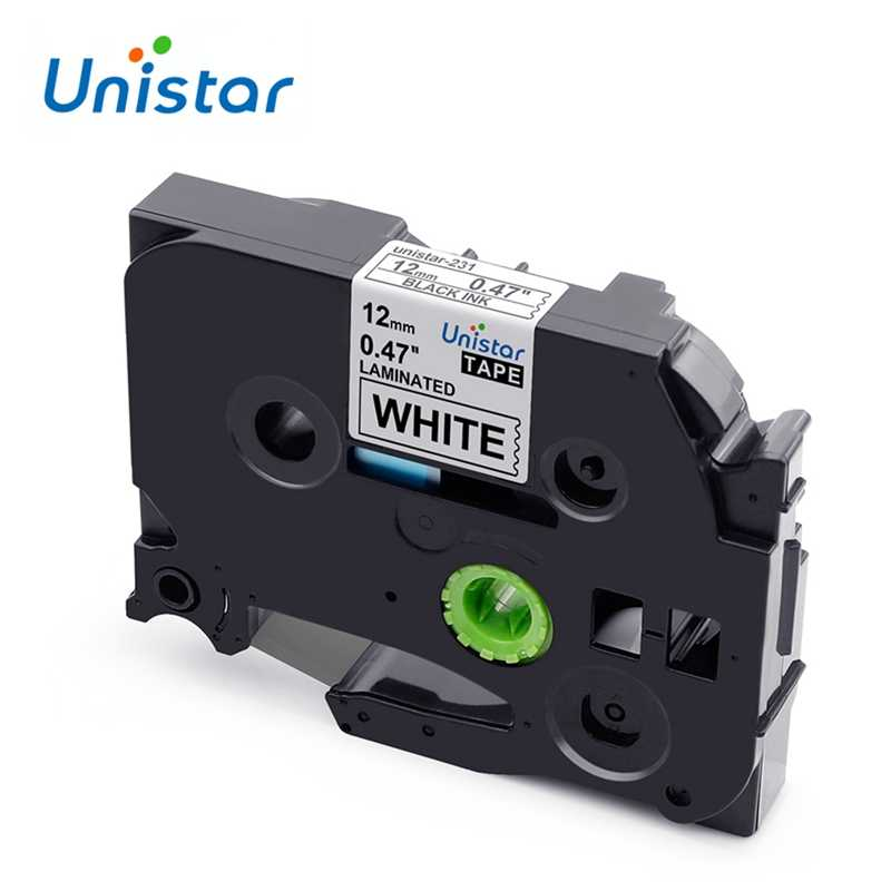 Unistar Tze 231 Tz231 TZe-231 Kompatibel dengan Brother P-touch Label Tape 12 Mm Multicolor untuk PT-H110 PT-D600 PT-1000 pembuat Label