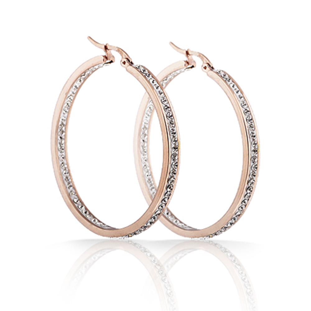 Fashion Crsytal Hopp Classic Stainless Steel Rose Gold Color Crystal Hoop Earring for women dropshipping fashion stainless steel rose gold