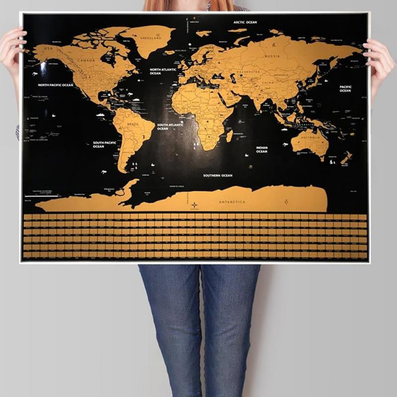 EFINNY Scratch Off Map of The World Travel Map Poster Easy Scratching Gold Foil with Country Flags