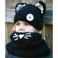 2015 Hot cat ears beanie knit hat wool hat children crochet hat scarf  wholesale gorros balaclava