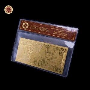 Уникальный металлический крафт, польский, 50 позолоченных банкнот, 999,9 золота с coa