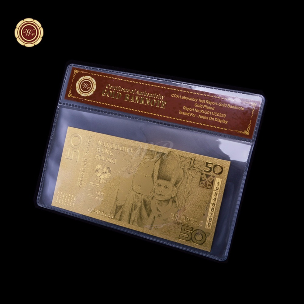 Unique Metal Craft Poland 50 Gold Plated Banknote Fine 999.9 Gold with coa