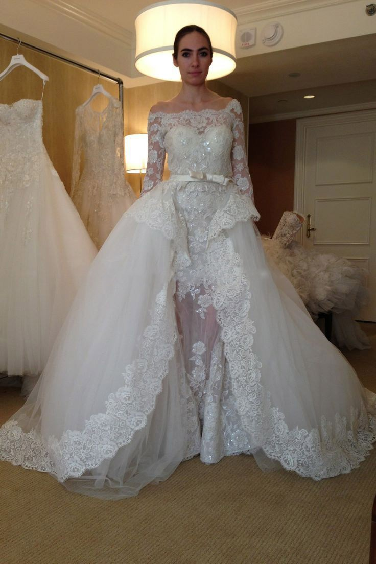 0e8febae83d New Arrival Sexy Sheath Lace Applique Wedding Dress See Through Long Sleeves  Tulle Wedding Dress With Detachable Train