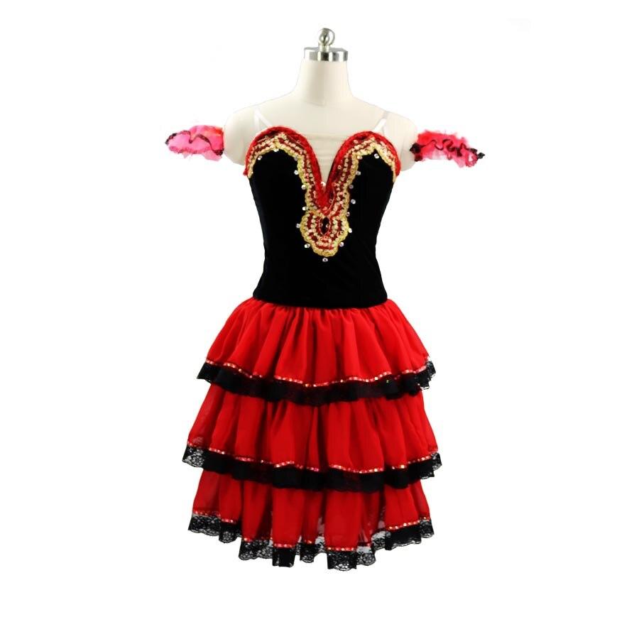 Don Quixote Performance Pancake Tutu Dress Long Lace Sleeves Spanish Ballet Stage Costume Red Black Professional Ballet Tutu