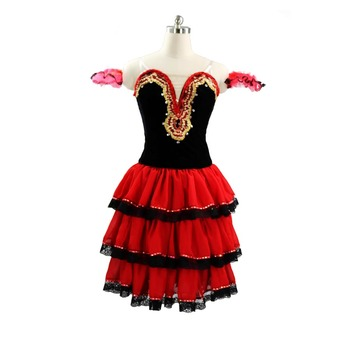 цена на Don Quixote Performance Pancake Tutu Dress Long Lace Sleeves Spanish Ballet Stage Costume Red Black Professional Ballet Tutu
