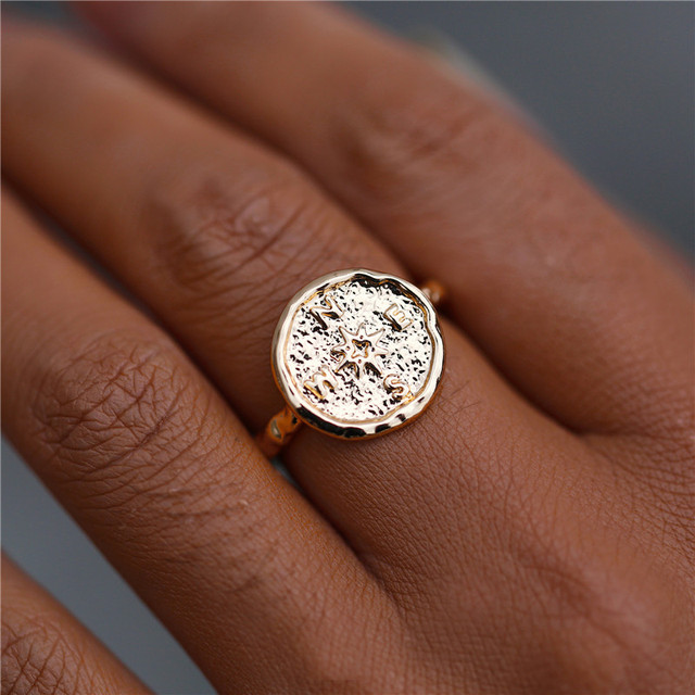 IF ME Vintage Big Gold Color Round Compass Rings for Women Bohemian Geometric Carved Coin Finger Ring Female Jewelry 2019 NEW