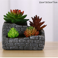 Brick Wall Retro Ancient Plants Pot Making Silicone Mold for Concrete DIY Square Cement Planter Mould