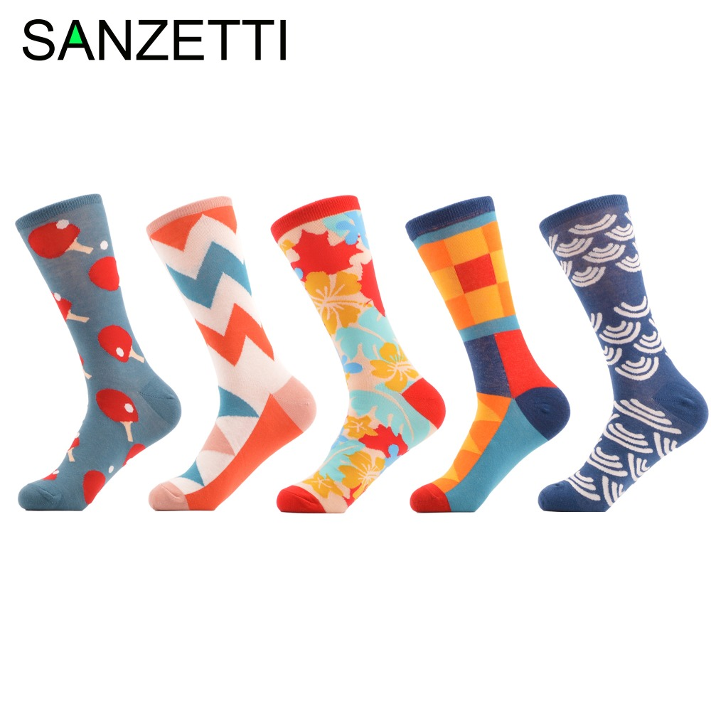 SANZETTI 5 pair lot Men s Colorful Funny Socks Combed Cotton Crew Socks Casual Dress Funky
