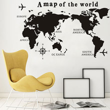 Big Szie A Map Of The World Wall Decal Nautical Home Decor Living Room Vinyl Stickers Scratch Plain Compass Poster MP02