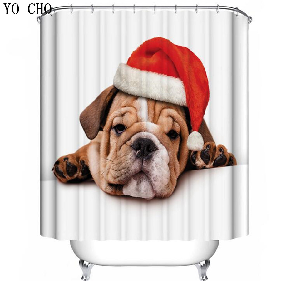 YO CHO High Quality Cartoon Animal Printed Shower Curtain Christmas hat dog rideau de douche polyester cortina ducha animales