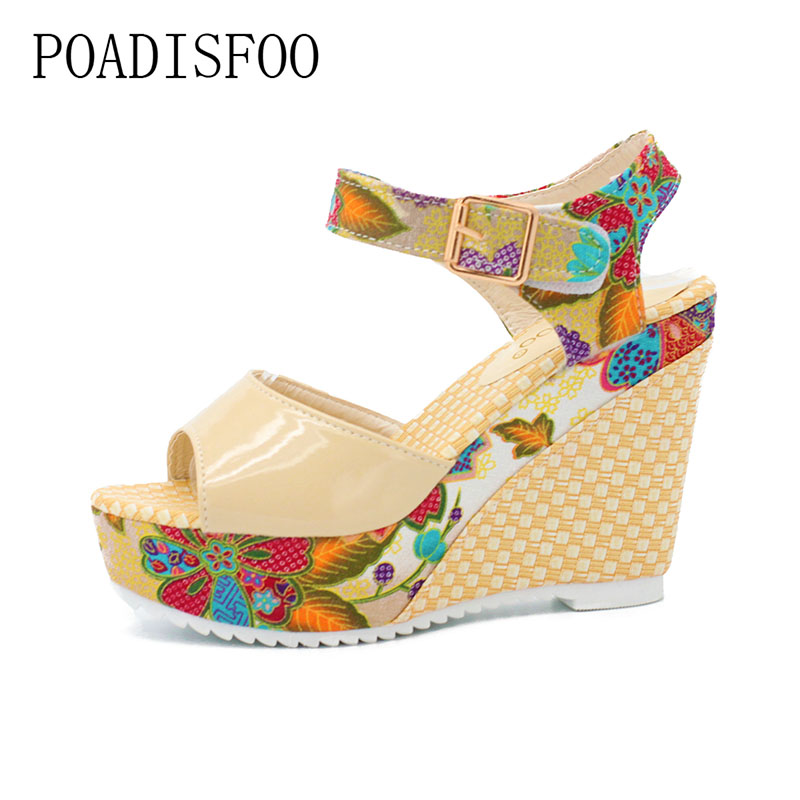 POADISFOO 2017  Fashion Women sandals Summer Wedges Women Sandal Belt Bow Flip Flops Open Toe High Heeled Shoes.DDN-lx04 eiswelt 35 40 fashion summer wedges women s sandals platform lace belt bow flip flops open toe high heeled women shoes edzw16