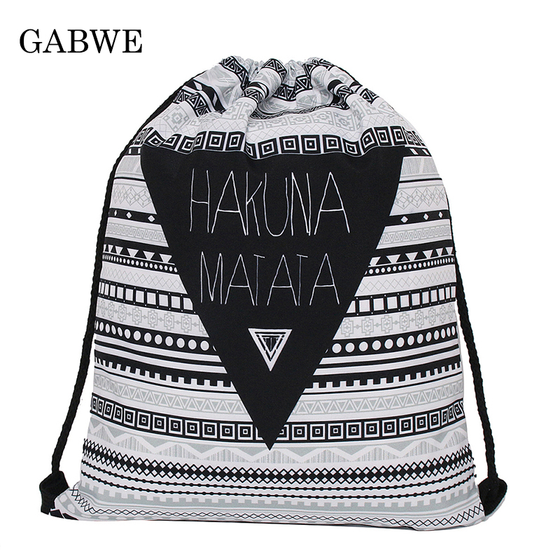 GABWE Hakuna Aztec Vintage 3D Print String Bag In Drawstring Bag For Women Backpack Drawstring Gift Pouch