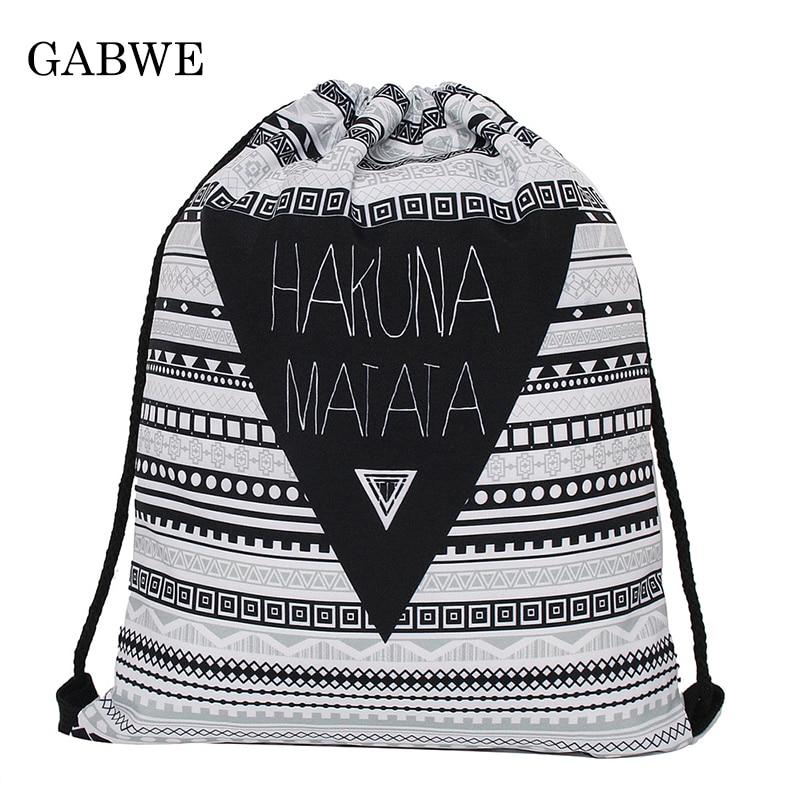 GABWE Hakuna Aztec Vintage 3D Print String Bag In Drawstring Bag For Women Backpack Drawstring Gift Pouch