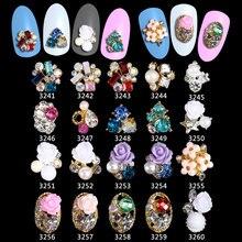100PCS /Lot alloy 3d nail art rose flowers jewelry nails crystal rhinestones nailart decorations new arrive ****3241-3260