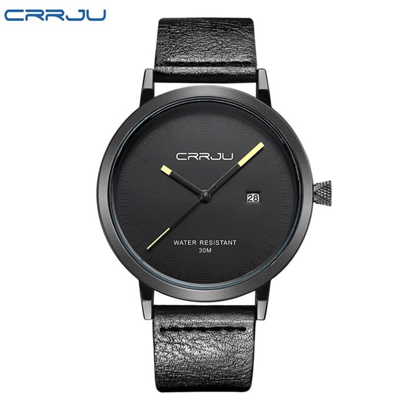 цена на CJ-2104 Watches Men Leather Band Quartz Wrist Wristwatch Fashion Black Simple Watch Men 2018 Round Leather Watch Water Resistant