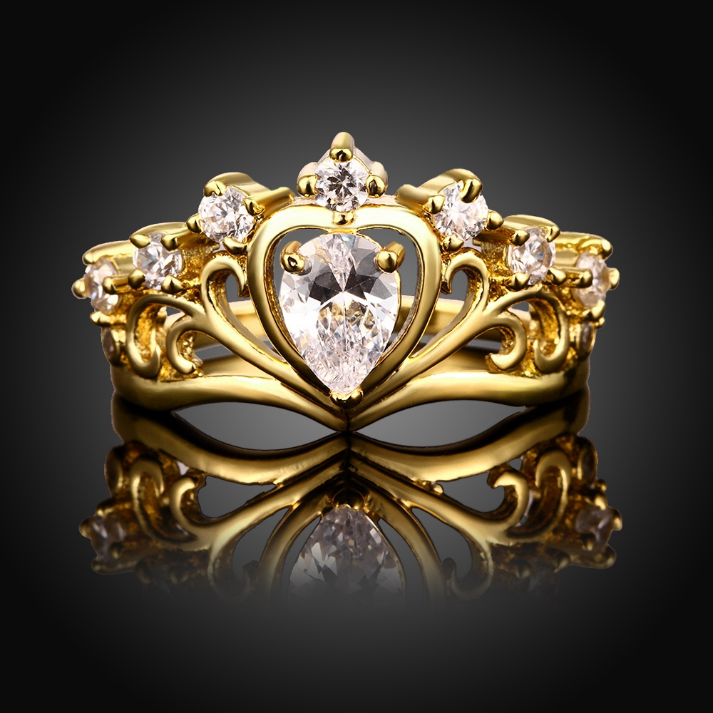 MEGREZEN WomenS Wedding Rings Beautiful Gold Color Engagement Crown Ring 2017 Vintage Jewelry Anillos De Compromiso R231