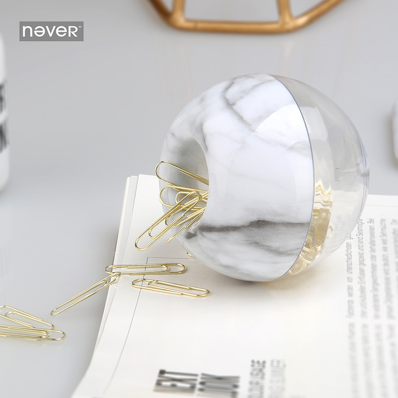 Never Marble Design Paper Clip Apple Shaped Clip Holder Documents Metal Paper Clips Gold Office Accessories Tool School Supplies