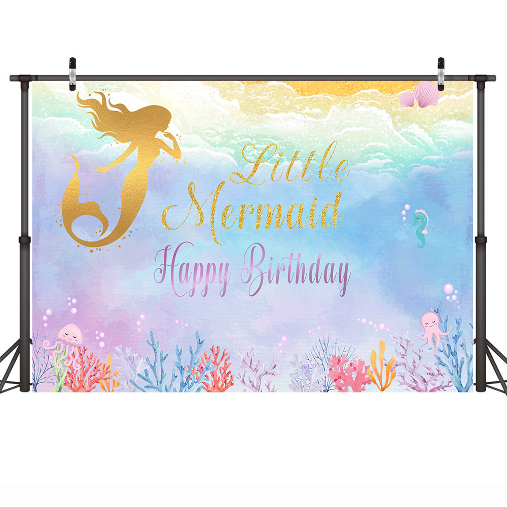 Mehofoto Golden Little Mermaid Photography Backdrop Children Happy Birthday Party Underwater Colorful Background Mermaid Theme in Background from Consumer Electronics