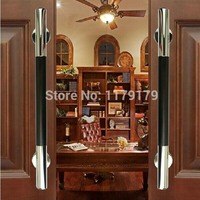 400mm 304 Stainless Steel With Black Peach Wood Door Pull Wooden Door Accessories Hardware TC1028 400B