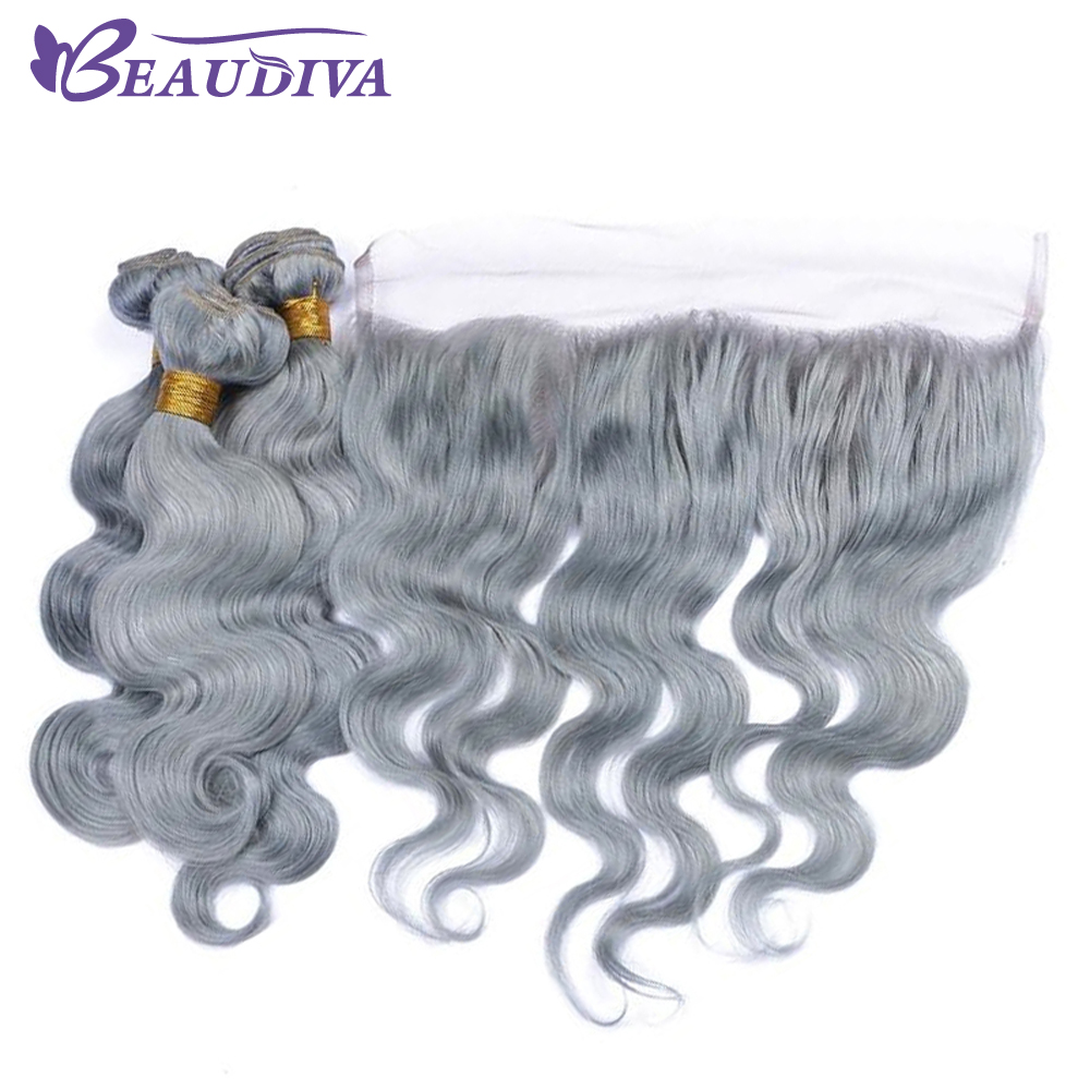 BEAUDIVA Pre-Colored Gray Color Body Wave 3 Bundles Human Hair Bundles With Frontal Closure 13x4 Lace Frontal Remy Human Hair