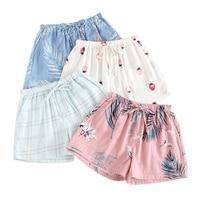 Женские летние шорты, мягкие домашние пижамы из 100% хлопка с газовой сеткой, шорты для сна, 2019