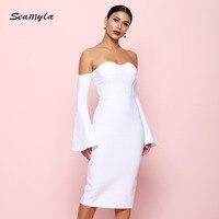 Seamyla 2019 White Black Summer Dress Women Strapless Celebrity Party Dresses Sexy New Flare Sleeve Bandage Dress Club Vestidos