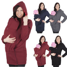 Maternity Polar warm fleece Hoodie Jumper Pullover Babywearing S Multifunctional Kangaroo Mom Baby Maternity Hoodies
