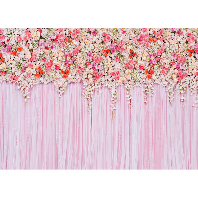 Customize washable wrinkle free pink white flowers photography backdrops for wedding photo studio portrait backgrounds F-1617 200 300cm backgrounds for photo studio photography backdrops white green the open air terrace flowers tree for wedding
