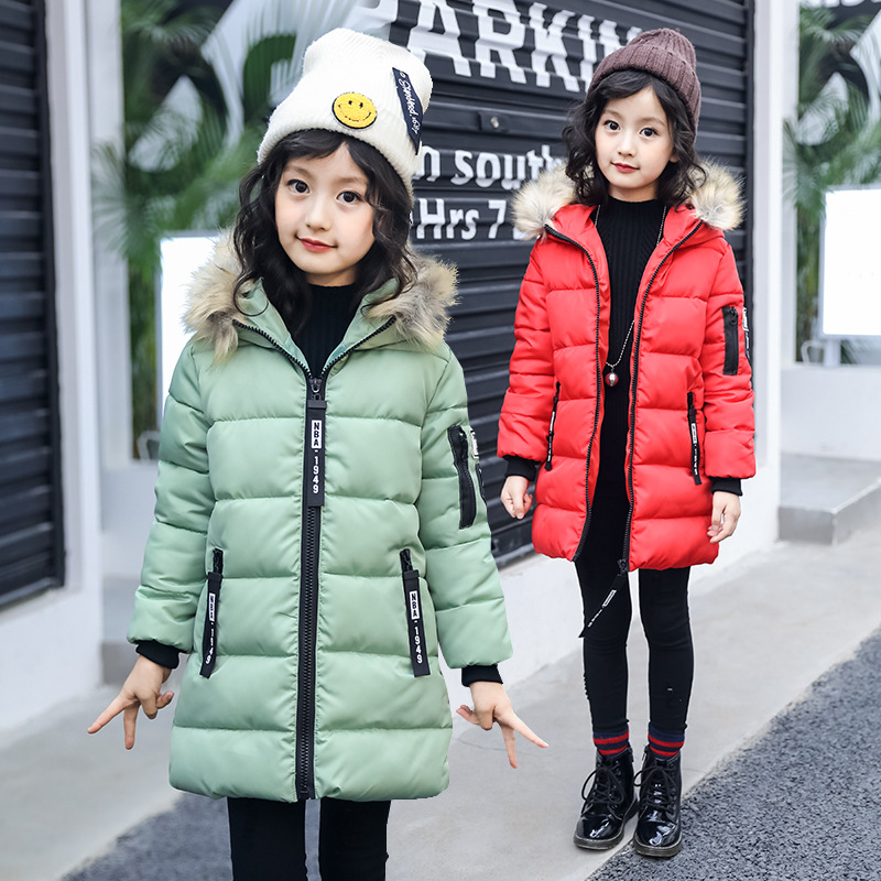 girls coat gaueey 2017 winter new children thick fur collar cotton jacket 3-14 Yr America and Europe style girls cotton coats factory outlets 2014 new winter in europe and america women british style stitching cotton quilted jacket short parkas coat