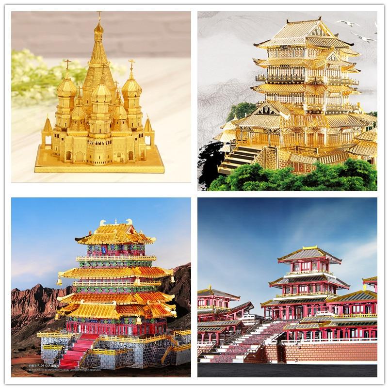 PIECECOOL Famous Buildings Over the World 3D Metal Assembly Model Jigsaw <font><b>Puzzle</b></font> London Eye Notre Dame De Paris Collection