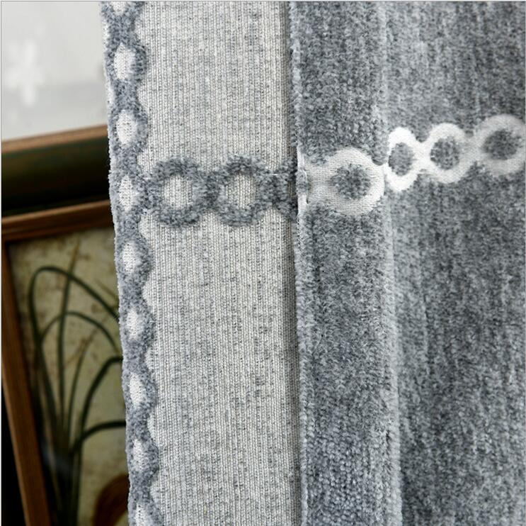 Luxury Grey Thicker Imitation Cashmere Shading Jacquard Curtains For Living RoomBrief Plaid Drapes Custom Size Blackout Curtain In From Home