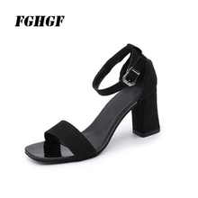 FGHGF Flock Summer Lady Sandals Front Rear Strap Square Heel Solid Color Fashion Buckle Rubber Flock Summer Woman Sandals egonery summer 2018 new flock cross strap lace up and zip med square cover heel solid concise fsahion casual women sandals