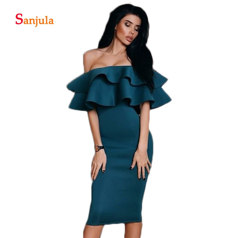 Strapless Knee Length   Cocktail     Dresses   Off the Shoulder Tieres Ruffles Top Sheath Night Party Gowns Women Prom Gowns Jersey D692