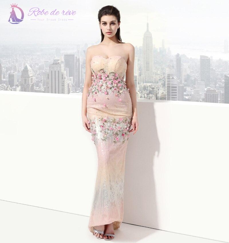 Light Yellow Formal Evening Dress Sheath Roses Sequins Beads Floor Length