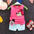 Baby Girl Clothes Casual Summer Cartoon Mickey Vest Tank+Shorts Pants Girls Clothing Sets Newborn Kids Children Brands 2016 Sale