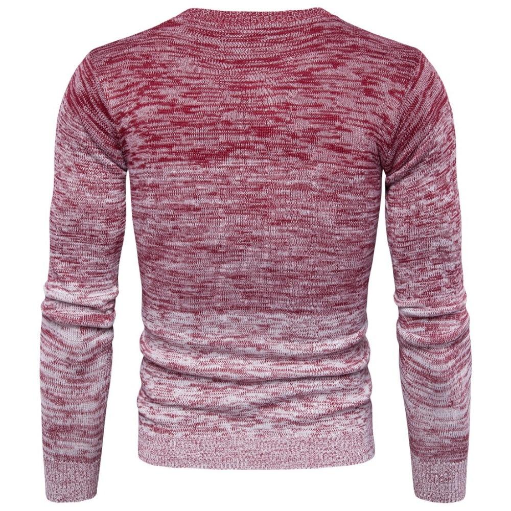 Gradual Change Color Printed Knitted Sweater Men Tops Men Pullover Long Sleeve Winter Men Slim Fit Casual Knitting Tops Romper