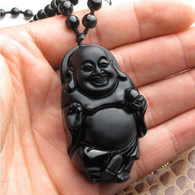 High Quality Handwork Carve Obsidian Jade Pendant Maitreya Laughing Buddha Lucky Jewelry Pendants With Slide Rop Free Shipping