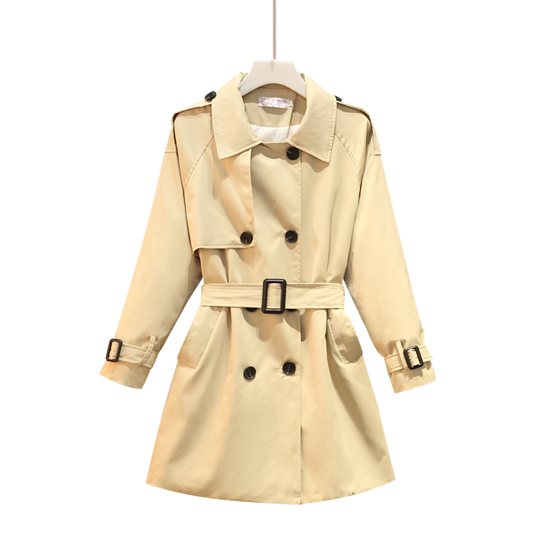New 2019 Women Slim waist Khaki   Trench   Coat Fashion Plus Size 5xl Medium-long WindbreakerOutwear