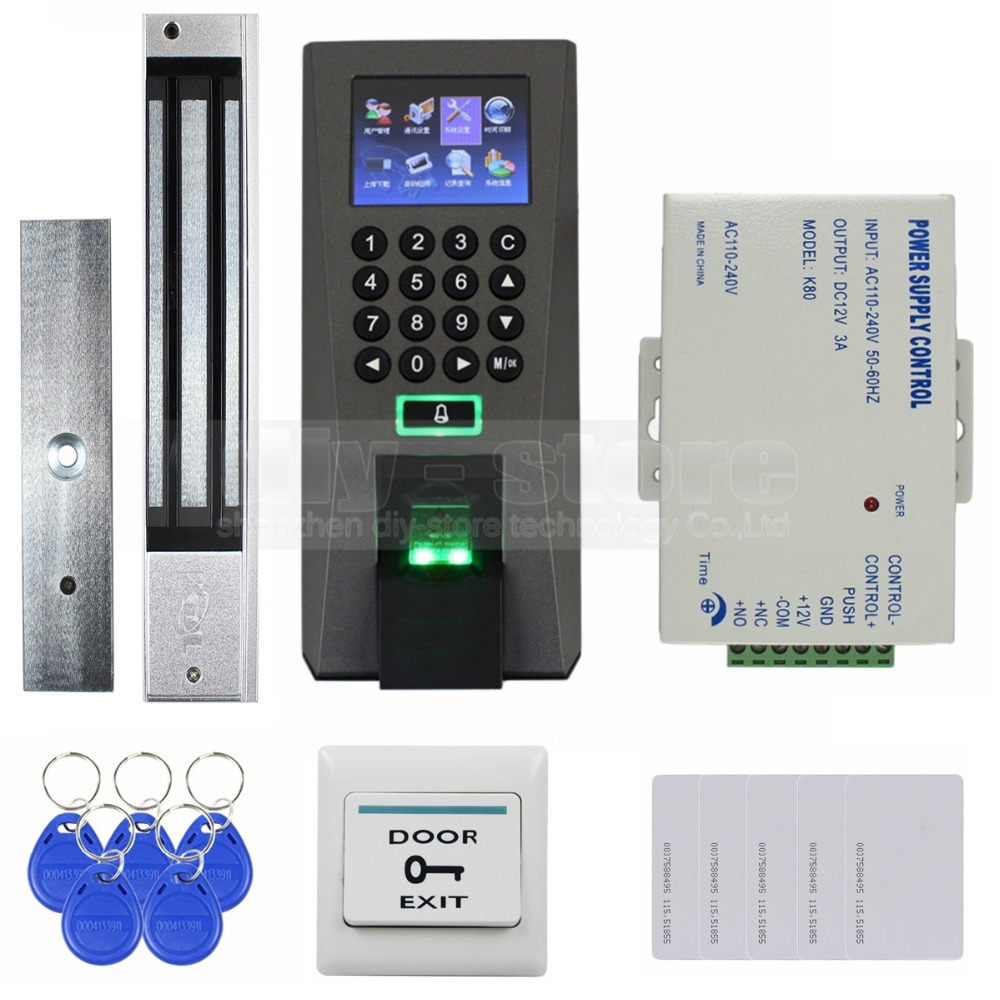 DIYSECUR Fingerprint Password RFID Card Access Control System With 280kg Magnetic Lock + 5 RFID Cards