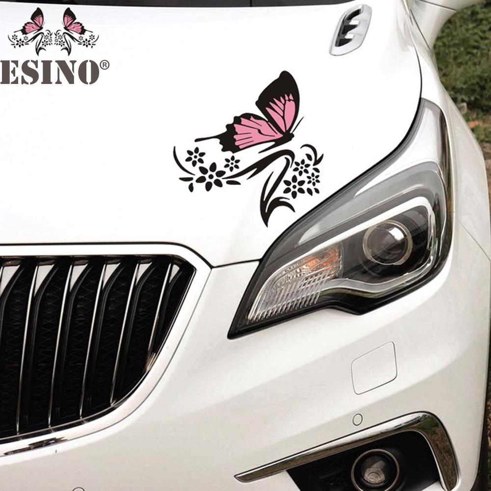 2 x New Design Borboleta Flor Dos Desenhos Animados Criativo Auto Carro Bumper Corpo Decalque do Decalque Dos Desenhos Animados Criativo Padrão Decorativo Vinil