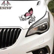 2 x novo design dos desenhos animados borboleta flor criativa auto decorativo decalque dos desenhos animados carro pára-choques corpo decalque criativo padrão de vinil
