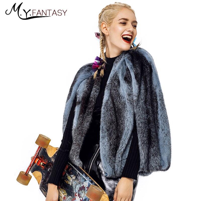 M.Y.FANSTY 2019 Winter Women's Imported Mink Cross Mink Coat cloak Shawl Real Fur Coat O Neck Sleeveless Short Loss Mink Coats