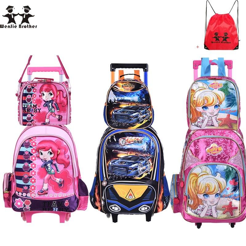 Wenjie brother nouveaux sacs d'école pour enfants avec chariot à roues ensemble de bagages sac à dos Mochila Infantil Bolsas pour garçons et filles