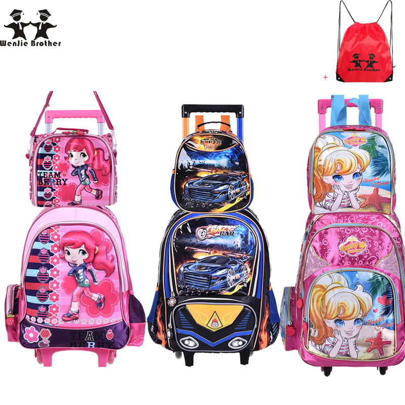 wenjie brother new Children Kids school bags With Wheel Trolley Luggage set backpack Mochila Infantil Bolsas for boys and girls hello kitty children school bags mochilas kids backpacks with wheel trolley luggage for girls backpack mochila infantil bolsas